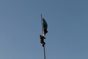 Flag monument in centre of Ramallah