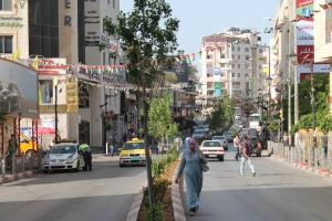 Morning street scene, Ramallah