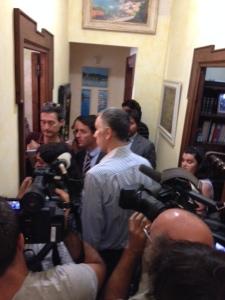 Ashya's father, Brett King, in a media scrum in Seville