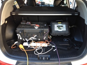 Some of the live camera equipment. The orange cable on the left ran round to the car's battery, which we had to use for power at times